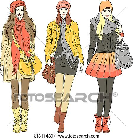 clip art of vector fashion stylish girls in warm clothes k13114397