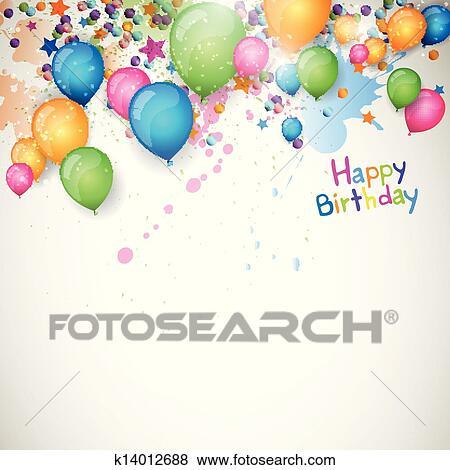 Happy Birthday Greeting Card.Vector Happy Birthday Greeting Card Clip Art K14012688