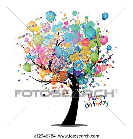 clipart of vector happy birthday greeting card k12945784 search rh fotosearch com