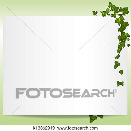 Clip Art of Vector spring/summer frame with ivy leaves k13352919 ...