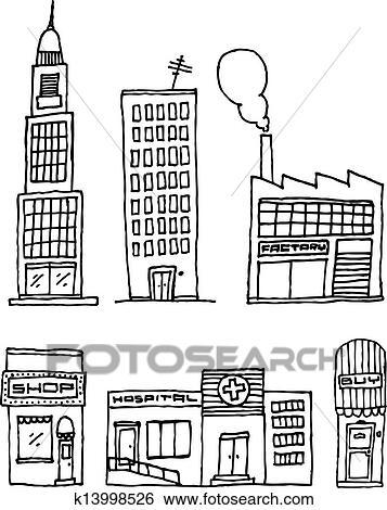 Vektor Stadt Gebaude Tinte Zeichnen Clip Art