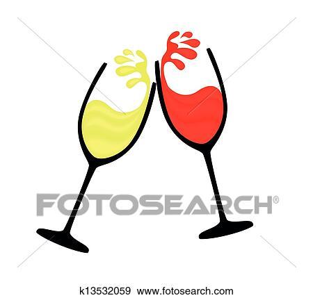 Verre Vin De Rouge Blanc Vin Clipart K13532059 Fotosearch