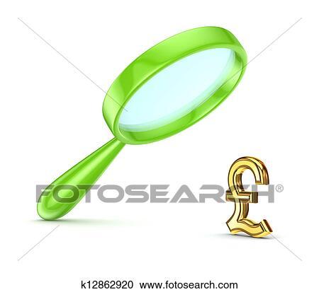 Vert Loupe Et Livre Sterling Symbole Banque D Image