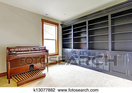 Banque de photo vide bibliothèque bureau salle à piano