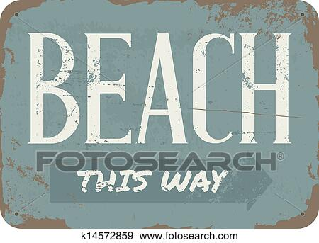 Clip Art Of Vintage Beach Metal Sign K14572859