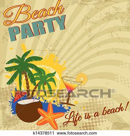 Vintage Beach Party Clipart | k14378511 | Fotosearch