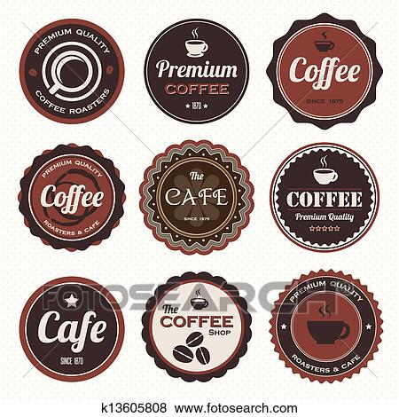 Clip Art of Vintage coffee badges and labels. k13605808 ...