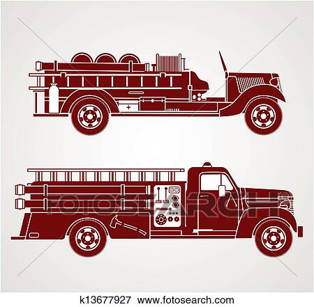 clip art of vintage fire trucks k13677927 search clipart