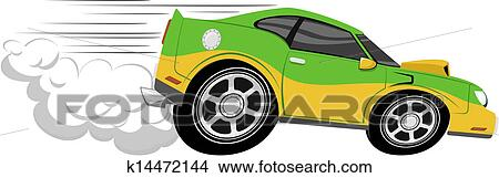 Voiture Course Dessin Anime Clipart K14472144 Fotosearch