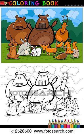 Clipart Wald Wildtiere Karikatur Für Ausmalbilder K12528560