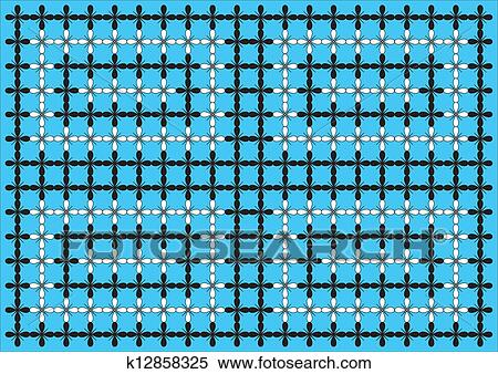 Wallpaper Pattern Black White On Blue Stock Illustration K12858325 Fotosearch