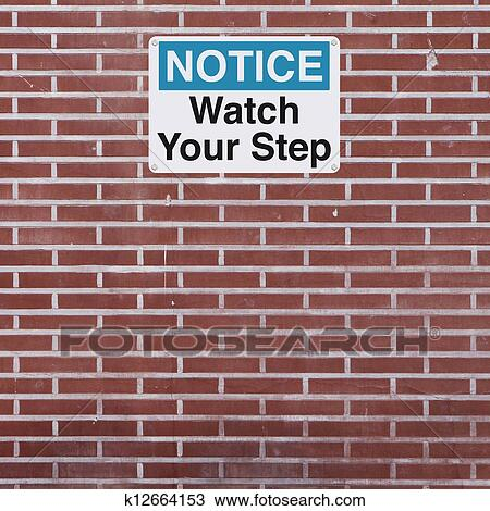 Drawing Of Watch Your Step K12664153 Search Clipart Illustration