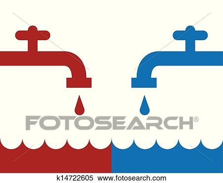 clipart of water faucet hot cold k14722605 search clip art rh fotosearch com water faucet clip art free hot water faucet clipart