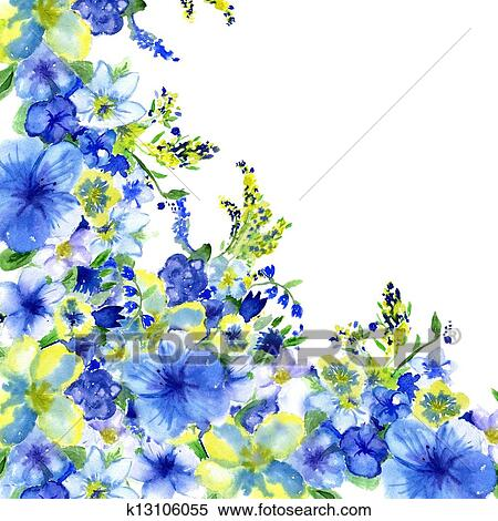 Stock image of watercolor dark blue and yellow flowers on a white stock image watercolor dark blue and yellow flowers on a white background fotosearch mightylinksfo