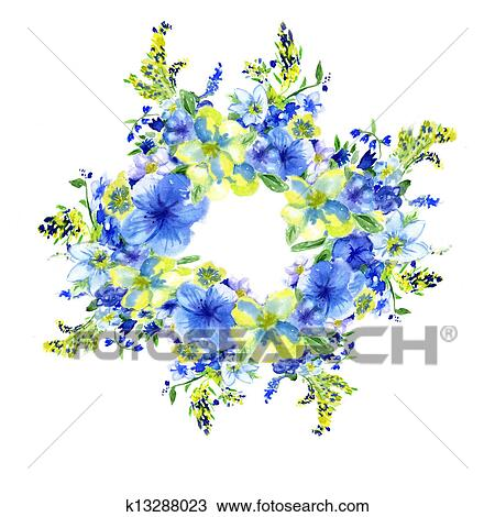 Stock Photo Of Watercolor Dark Blue And Yellow Flowers On A White