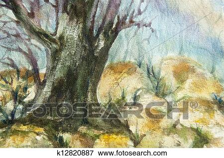 watercolor landscape of forests with big tree trunk and rocks stock illustration k12820887 fotosearch https www fotosearch com csp992 k12820887