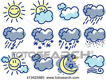 Clipart Of Weather Symbols K13425985 Search Clip Art Illustration