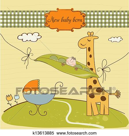 Clipart Of Welcome Card With Cute Pea Bean And Little Giraffe