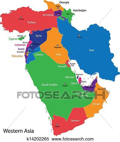 Landkarte Asien.Westliches Asien Landkarte Clipart