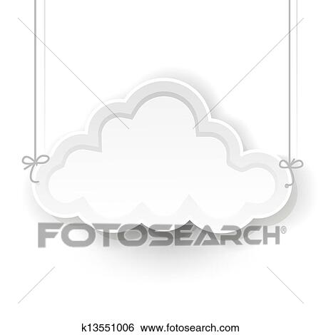 Clip Art Of White Cloud Symbol Hanging On White Background K13551006