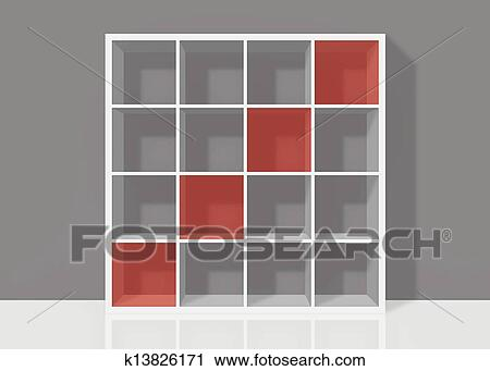 Clipart Of White Empty Bookshelf Composed Sixteen Boxes With Red