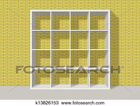 Drawing Of White Empty Square Bookshelf On Yellow Brick Wall