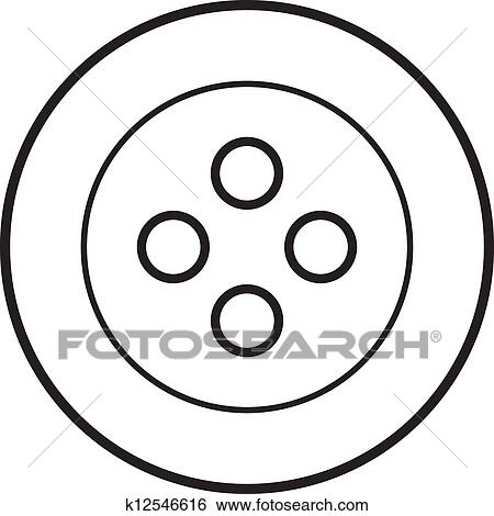 Clip Art Of White Sewing Button K12546616
