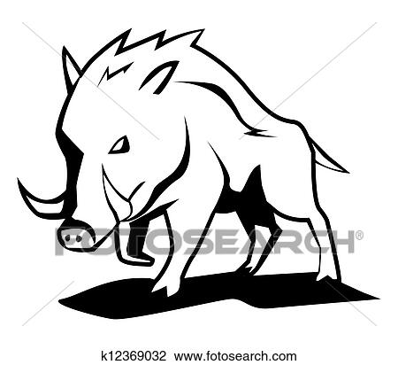 clipart of wild boar k12369032 search clip art illustration rh fotosearch com Wild Boar Hogs Wild Boar Logo