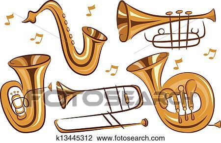 Wind Instruments Clipart | k13445312 | Fotosearch