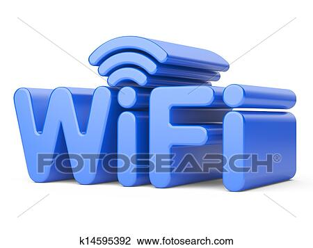 Clip Art Of Wireless Network Symbol Wifi K14595392 Search