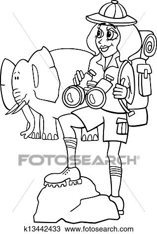Woman on african safari for coloring book Clipart ...