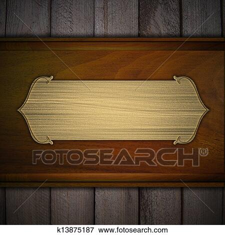 stock illustration of wooden background with a gold nameplate label