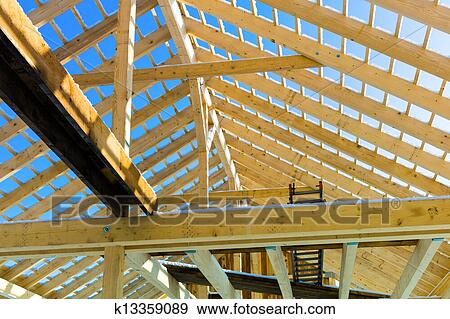 Wooden Roof Construction Stock Photo K13359089 Fotosearch