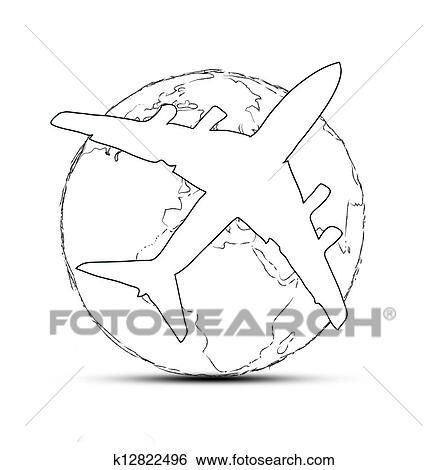 Stock Illustration Of World Travel Concept The Earth And A Plane
