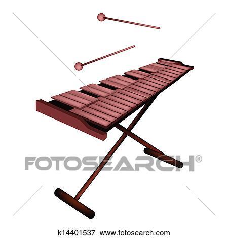 Clip Art Of Xylophone Or Marimba Isolated On White Background