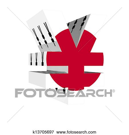Stock Illustration Of Yen Symbol With Japan Flag 3d Isolated On