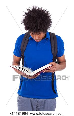 Young Black Teenage Student Men Reading A Books Isolated On White Background African People Picture
