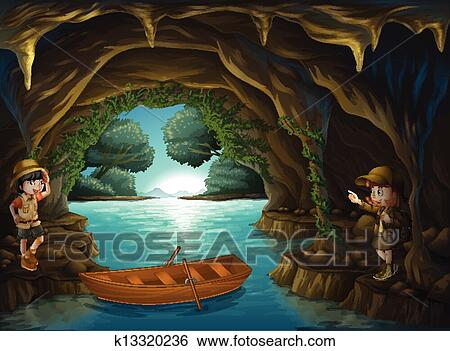 Awesome Clip Art   Young Explorers Inside The Cave. Fotosearch   Search Clipart,  Illustration Posters