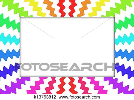 Zig Zag Rainbow Frame Drawing