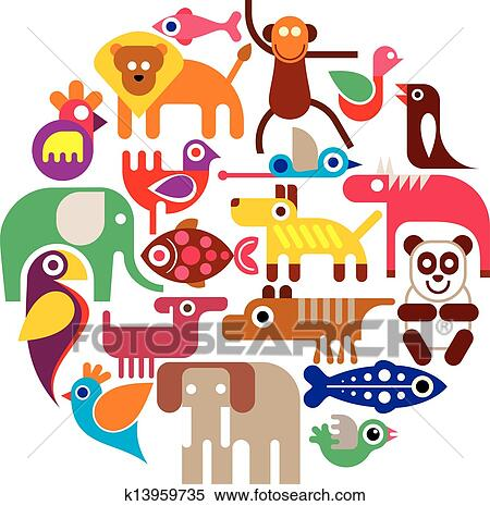 Zoo Animals - round vector Clipart | k13959735 | Fotosearch