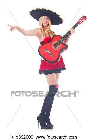 1f0774419 Žena, do, sombrero, klobúk, s, gitara Stock Obrazový Materiál ...