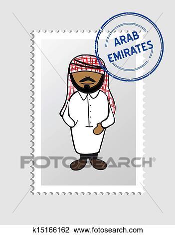عربي رسم كاريكتوري إنسان بطاقة بريدية ختم Clipart K15166162 Fotosearch