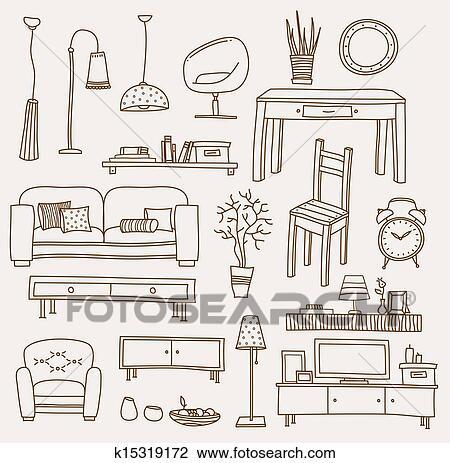 غرفة الجلوس سهم التوجيه الرسم K15319172 Fotosearch