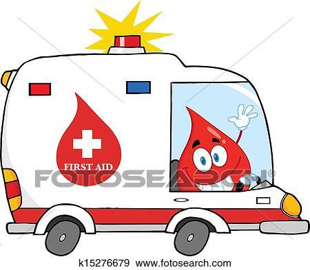 قطرة الدم القيادة سيارة إسعاف سيارة Clip Art K15276679 Fotosearch