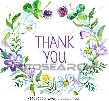 ありがとうカード で 水彩画 花 Bouquet ベクトル イラスト