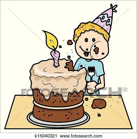 かわいい 子供 食べること 彼の バースデーケーキ クリップアート