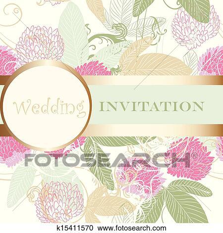 かわいい, 結婚式, 花, 招待 クリップアート(切り張り)イラスト「絵画」集