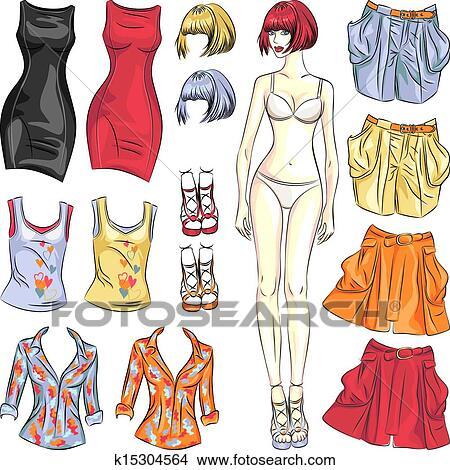 ベクトル かわいい 服 ペーパー人形 クリップアート切り張り