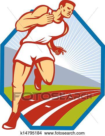 マラソン ランナー 動くこと 競技場 レトロ クリップアート切り張りイラスト絵画集
