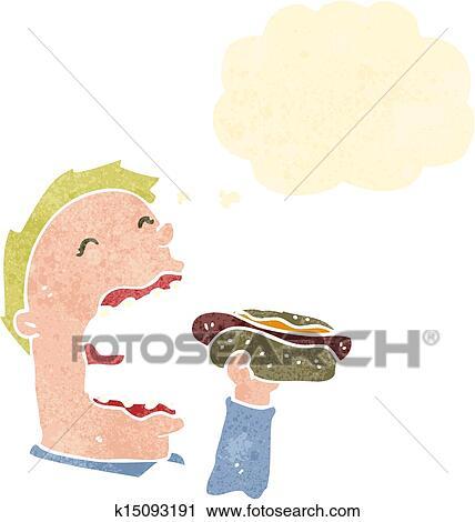 レトロ 漫画 人 食べること Hotdog クリップアート切り張り